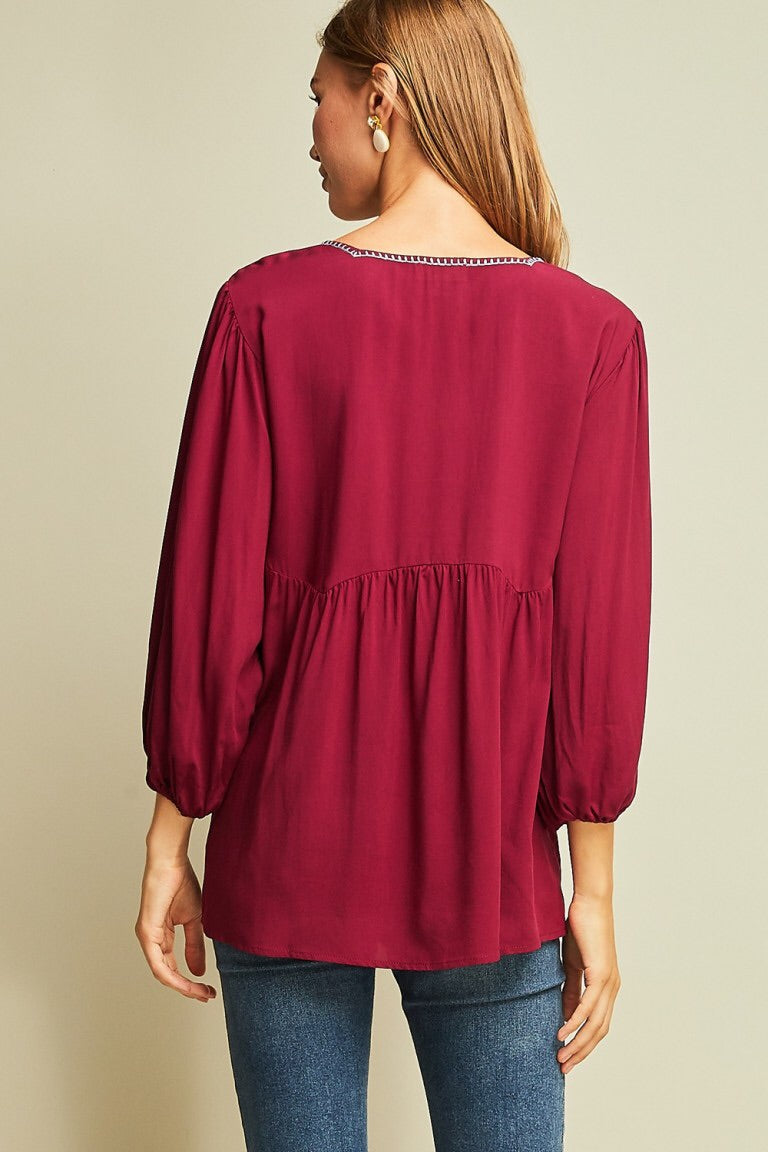 Empire Waist Embroidered Top - Burgundy - HeartsEase Clothing