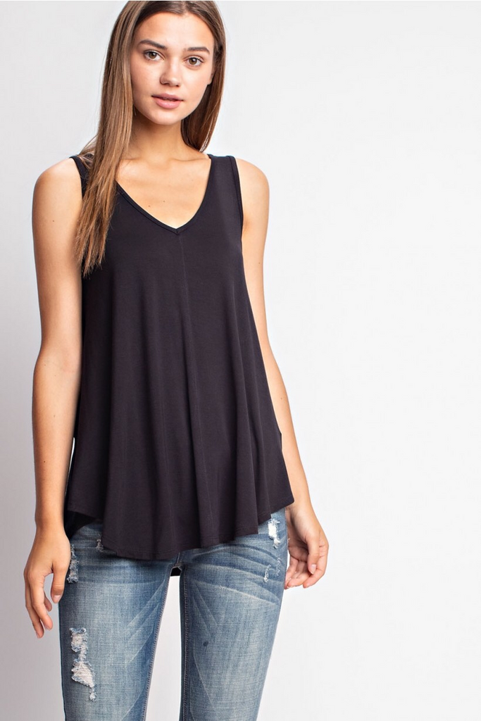 Brooklyn - Bamboo V-Neck Tank in Black ** LAST ONE **