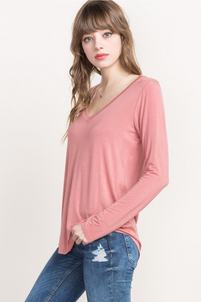Alexandria - Bamboo Long Sleeve Peach