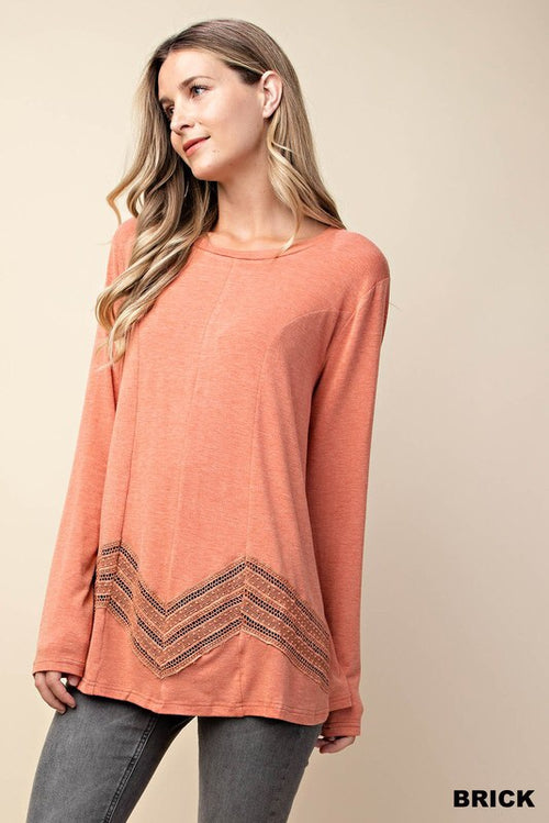 Long Sleeve Lace Detail Top - HeartsEase Clothing