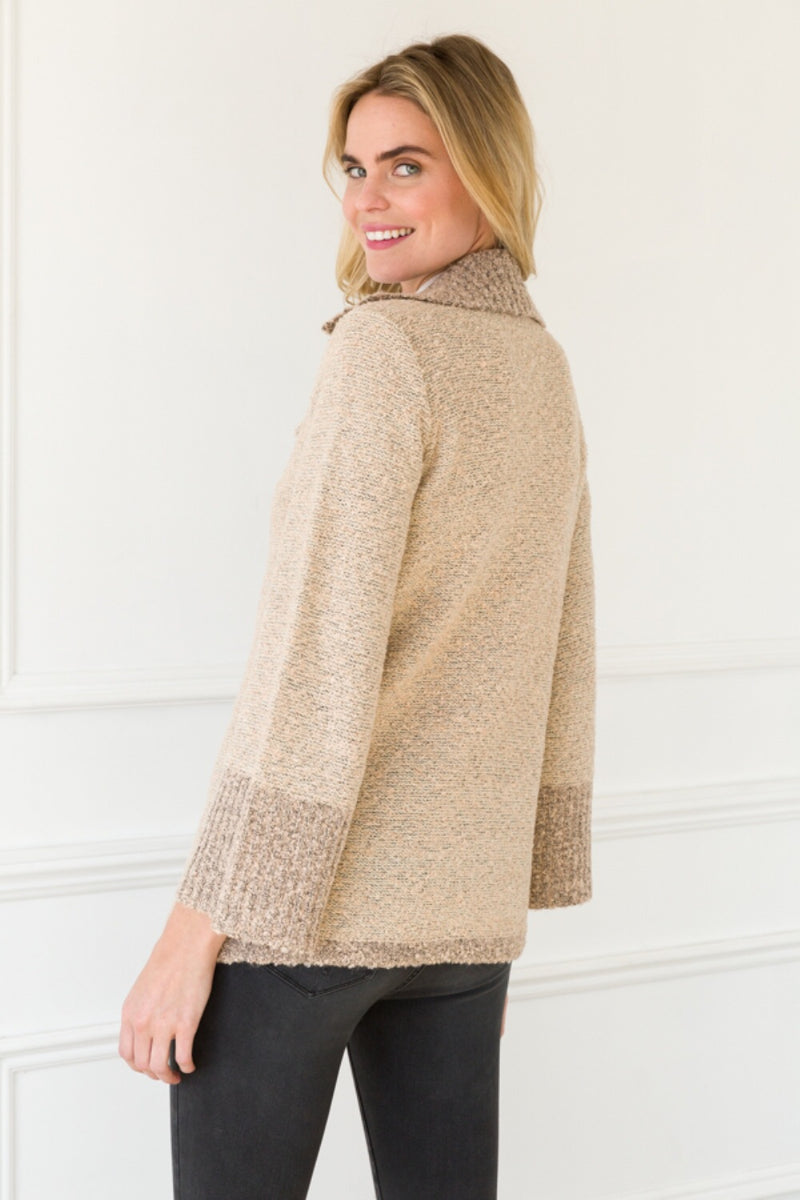 Double Breasted Sweater Jacket - Taupe - HeartsEase Clothing