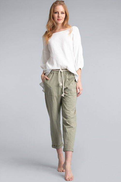 Bamboo Cotton Pants - Sage - HeartsEase Clothing