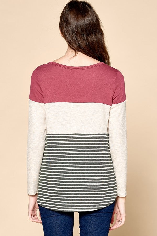 TWO LEFT Striped French Terry Top - HeartsEase Clothing
