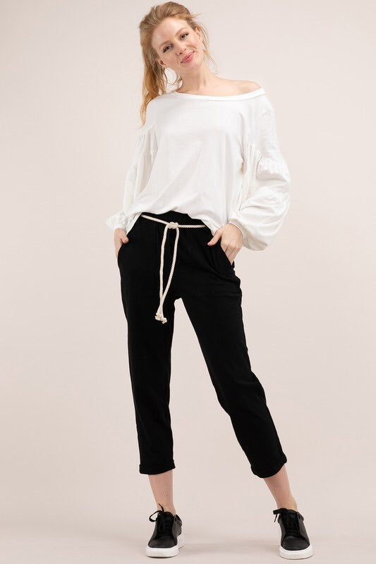 Tatum - Bamboo Cotton Pants in Black