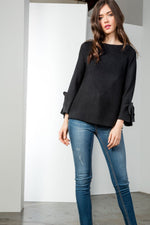 Tied Bell Sleeve Sweater - HeartsEase Clothing