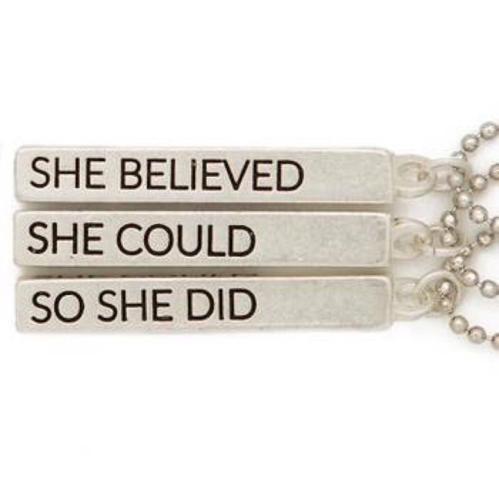 She Believed She Could Cube Pendant Necklace