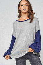 Color Blocked Puff Sleeve Top - HeartsEase Clothing