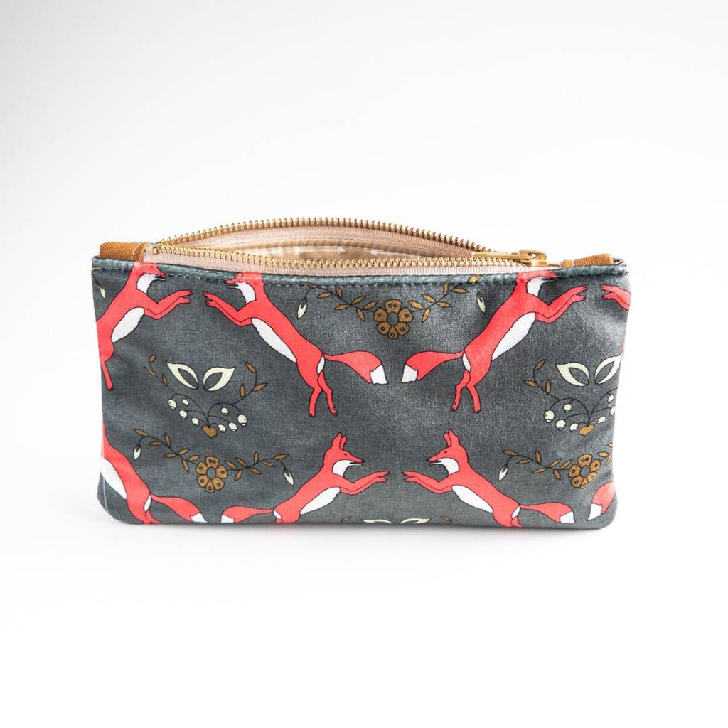 Folk Fox Luxe Velvet Pouch - HeartsEase Clothing