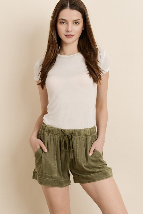Mineral Washed Tencel Shorts - HeartsEase Clothing