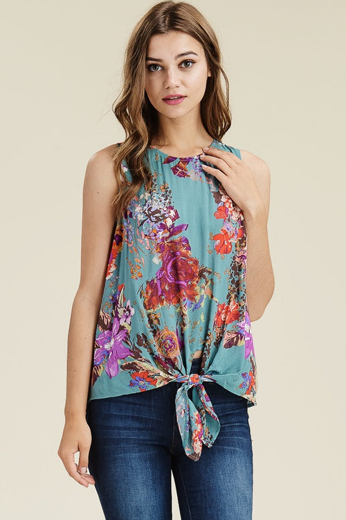 Knot Tie Floral Tank - HeartsEase Clothing