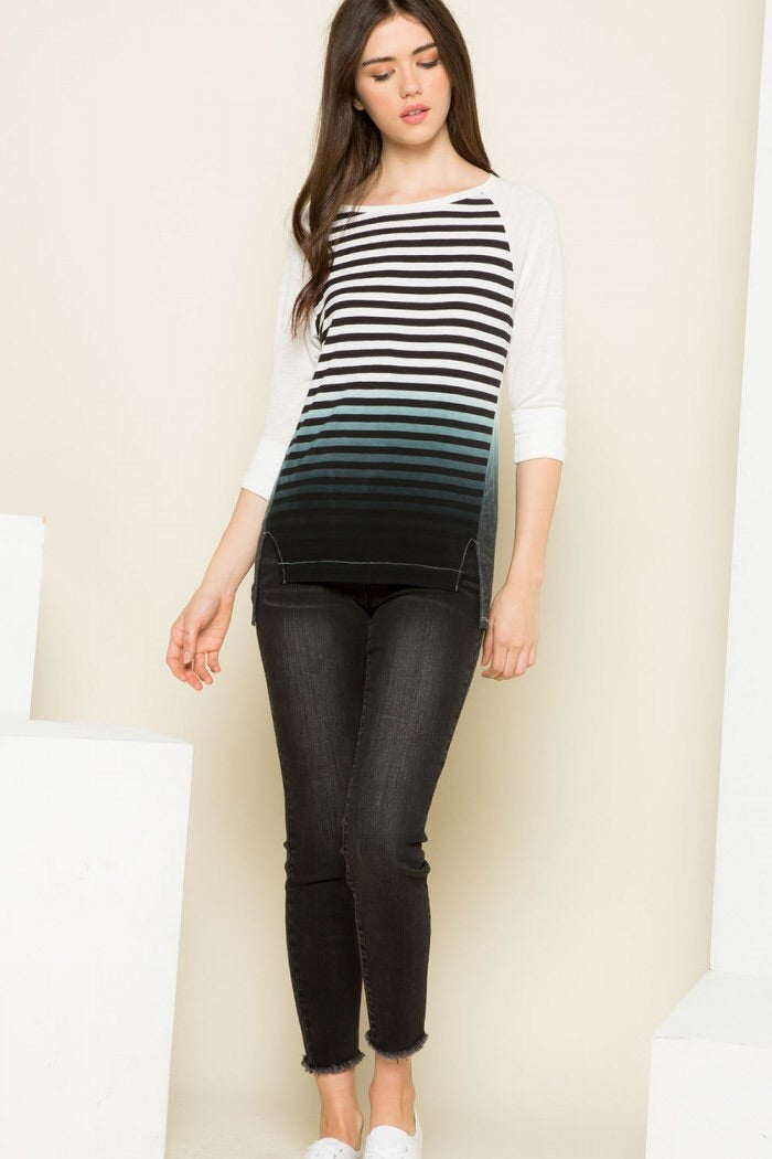 Raglan Sleeve Striped Tee - HeartsEase Clothing