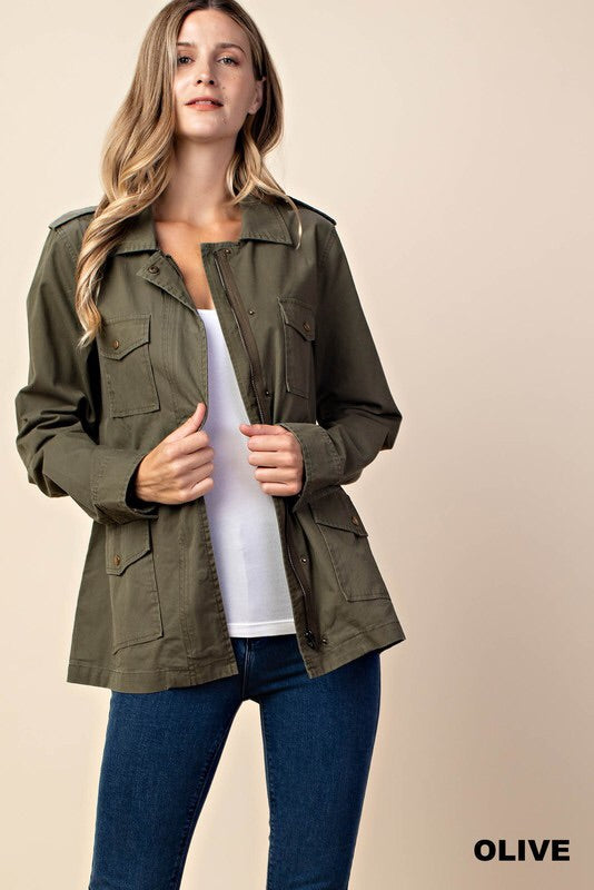 Olive Utility Jacket - HeartsEase Clothing