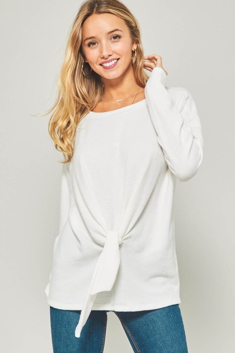 TWO LEFT White Brush Knit Top - HeartsEase Clothing