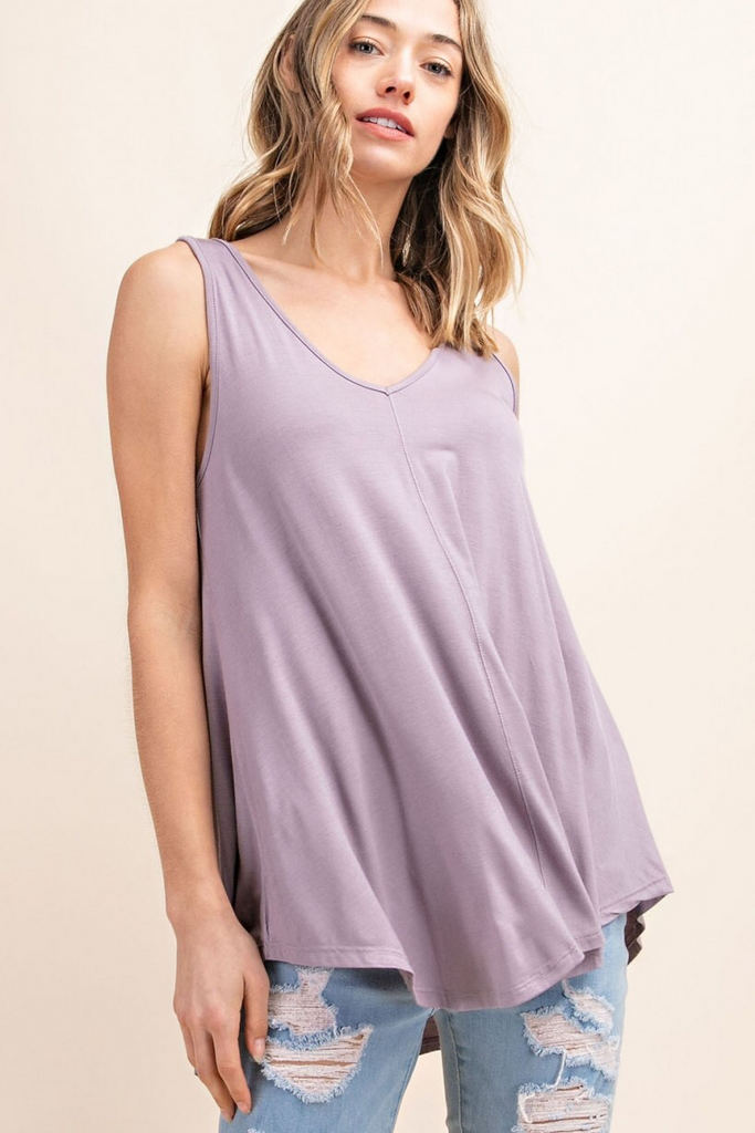 Bethany - Bamboo V-Neck Tank in Opal Grey