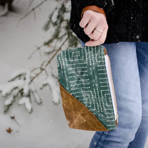 Green Geo Wristlet - HeartsEase Clothing