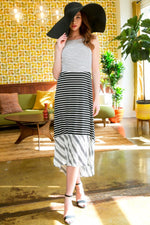 Mixed Stripe Hi-Low Dress - HeartsEase Clothing