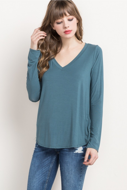 Bamboo Long Sleeve Tee - Hunter - HeartsEase Clothing