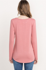 Bamboo Long Sleeve Tee - Peach - HeartsEase Clothing