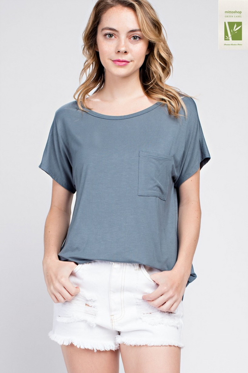 Bamboo Relaxed Pocket Tee - Ocean Breeze - HeartsEase Clothing