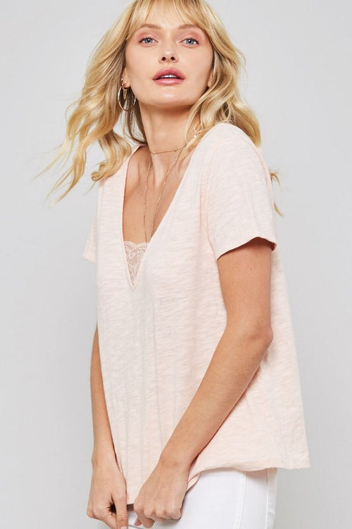 Burnout Tee With Lace Details - Blush - HeartsEase Clothing