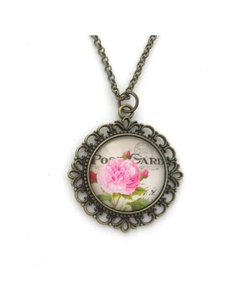 Vintage Style Pink Rose Necklace - HeartsEase Clothing