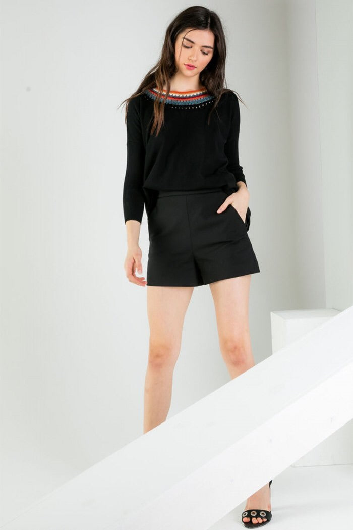 Sweater with Neckline Details - Black - HeartsEase Clothing