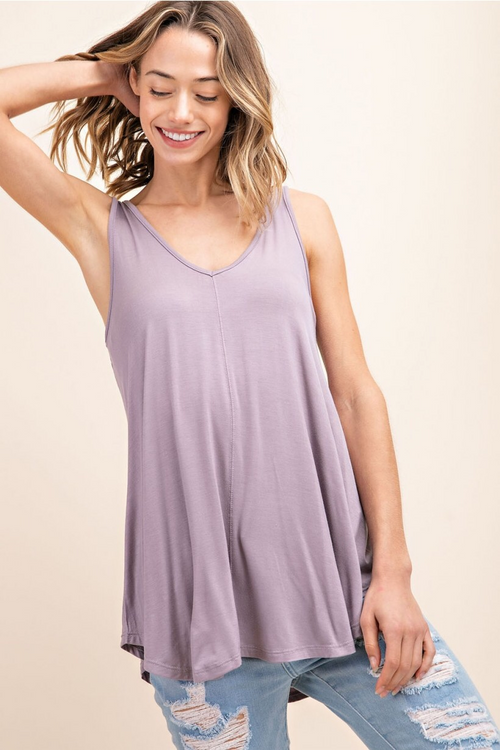 Bamboo V-Neck Tank - Opal Grey - HeartsEase Clothing