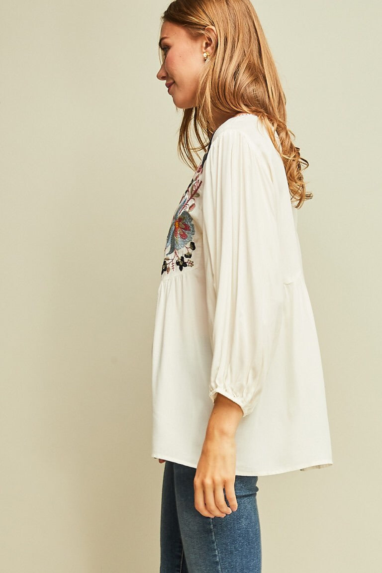 Empire Waist Embroidered Top - Natural - HeartsEase Clothing
