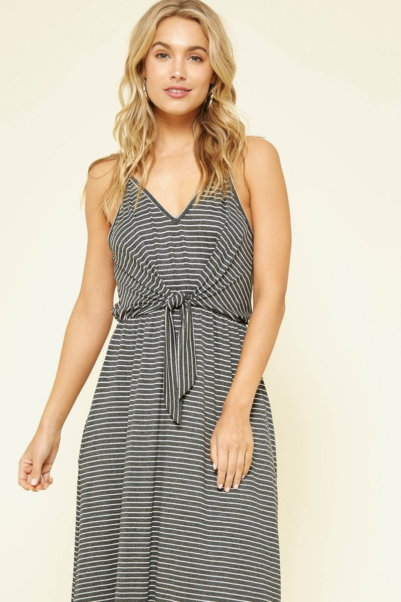 TWO LEFT Striped Midi Dress with Tied Waist - HeartsEase Clothing