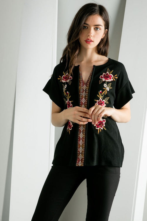 Embroidered Spanish Style Top - Black - HeartsEase Clothing
