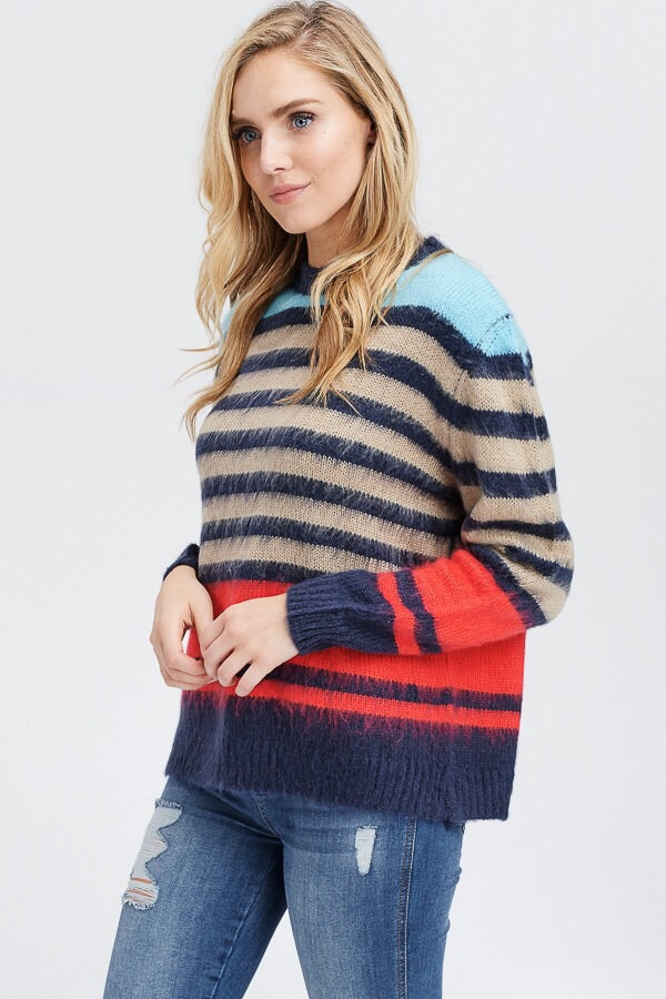 Multi-Color Striped Sweater - HeartsEase Clothing