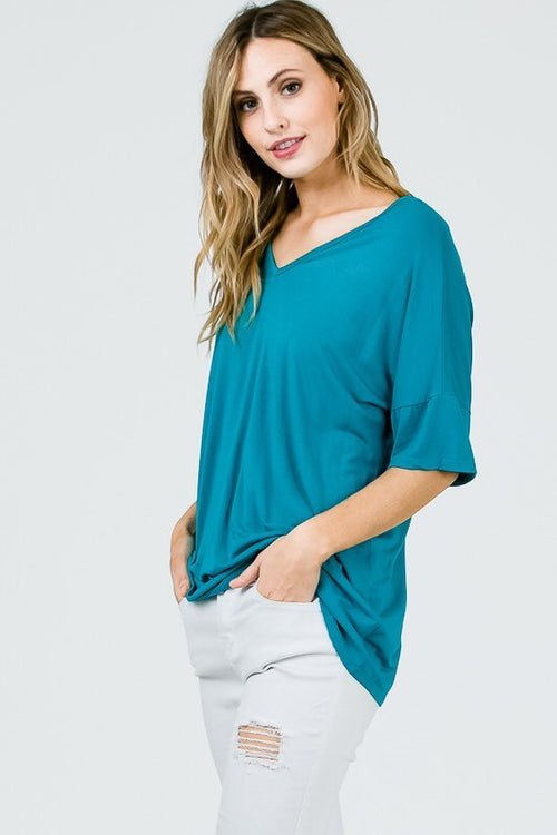 Bamboo Half Sleeve Tee - Jade - HeartsEase Clothing
