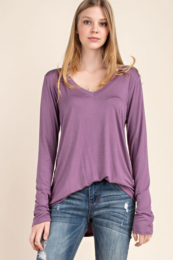 Regina - Bamboo Long Sleeve V-Neck Tee in Mauve