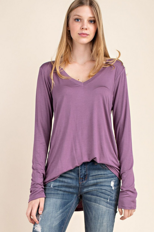 ONE LEFT Bamboo Long Sleeve Tee - Mauve - HeartsEase Clothing
