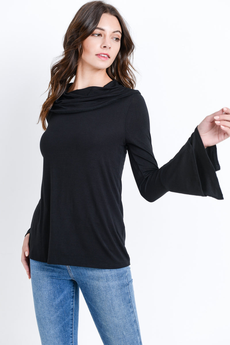 Cowl Neck Bell Sleeve Top - Black - HeartsEase Clothing