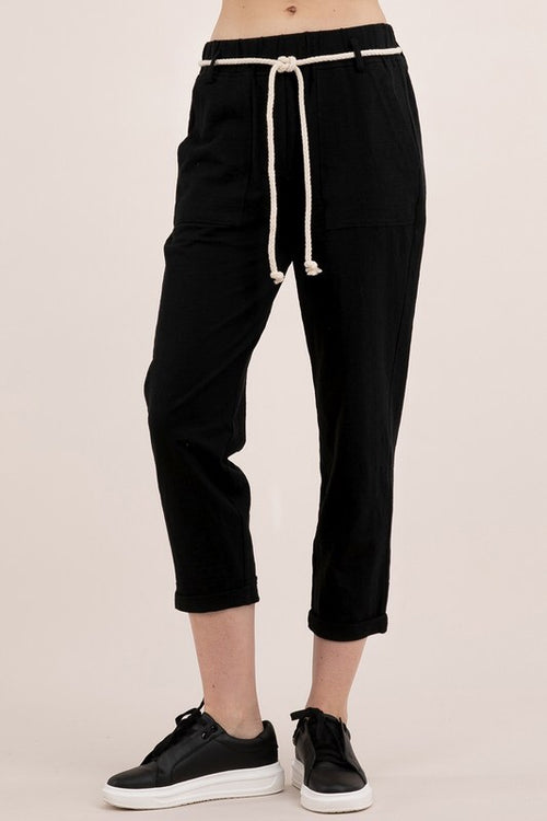 Bamboo Cotton Pants - Black - HeartsEase Clothing