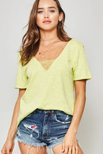 Burnout Tee With Lace Details - Lime - HeartsEase Clothing