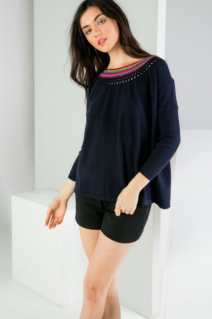 Sweater With Neckline Details - Navy - HeartsEase Clothing