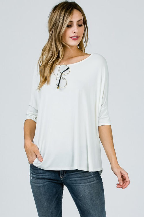 Bamboo Half Sleeve Tee - Ivory - HeartsEase Clothing