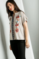 Embroidered Spanish Style Top - Beige - HeartsEase Clothing