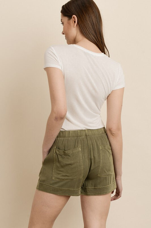 TWO LEFT Mineral Washed Tencel Shorts - HeartsEase Clothing