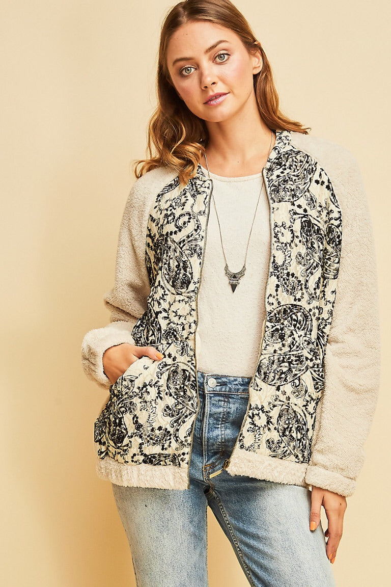 Paisley Print Fleece Jacket - HeartsEase Clothing