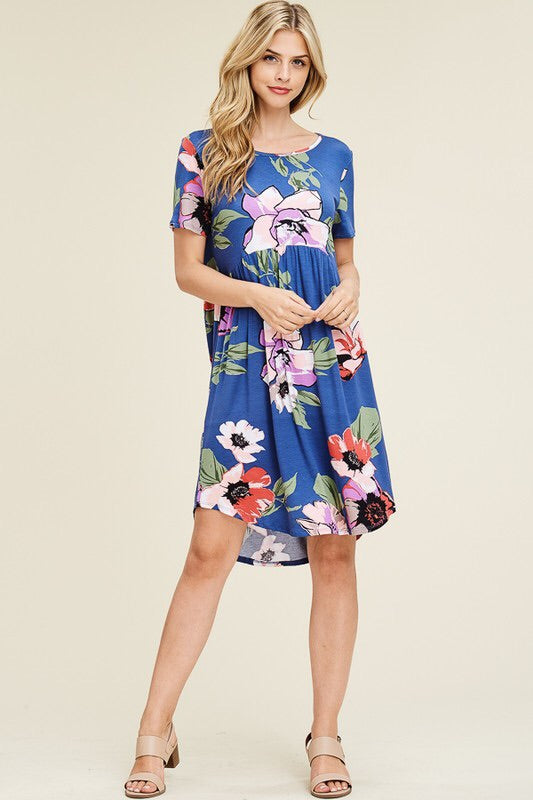 Campbell - Floral Midi Dress in Indigo