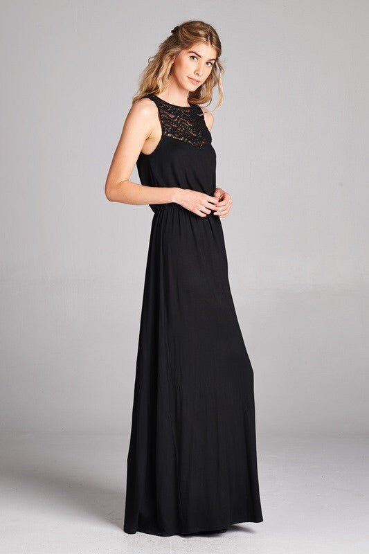 Crochet Trim Black Maxi Dress - HeartsEase Clothing
