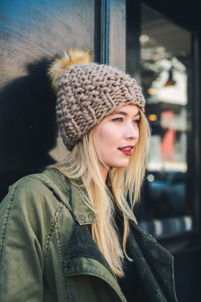 Oversized Chunky Pom Beanie - Mocha - HeartsEase Clothing