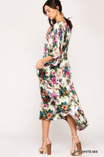 Tropical Print Maxi Dress - Off White Mix - HeartsEase Clothing