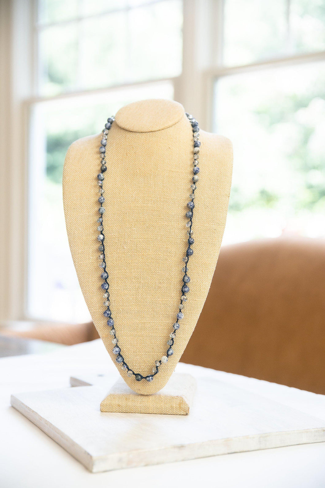 Sodalite Knotted Stone & Crystal Necklace-Necklace-Hazel & Indigo