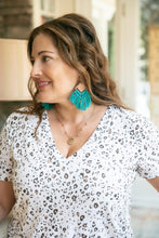 Load image into Gallery viewer, Teal Wood Crochet Statement Earrings-Earrings-Hazel & Indigo