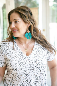 Teal Wood Crochet Statement Earrings-Earrings-Hazel & Indigo