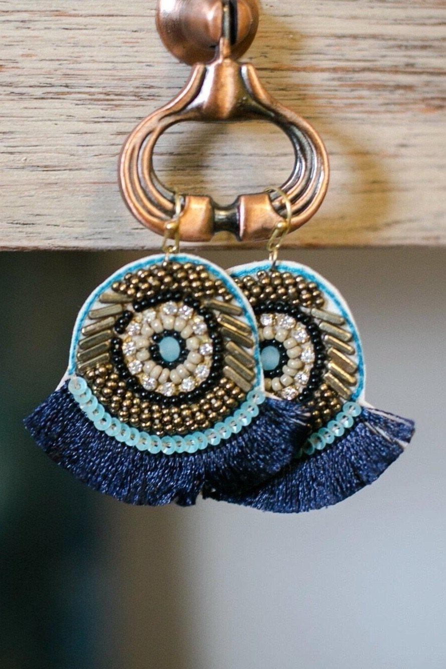 Ibiza Beaded Fringe Earrings-Earrings-Hazel & Indigo